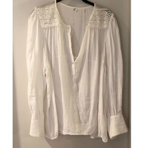 Margaret O'Leary White Lace Cotton Blouse L
